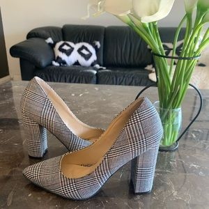 Vintage Retro style striped block heel